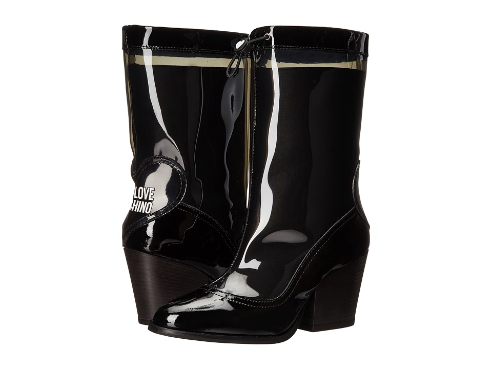LOVE Moschino Chunky Heeled Rain Boot (Black) Women
