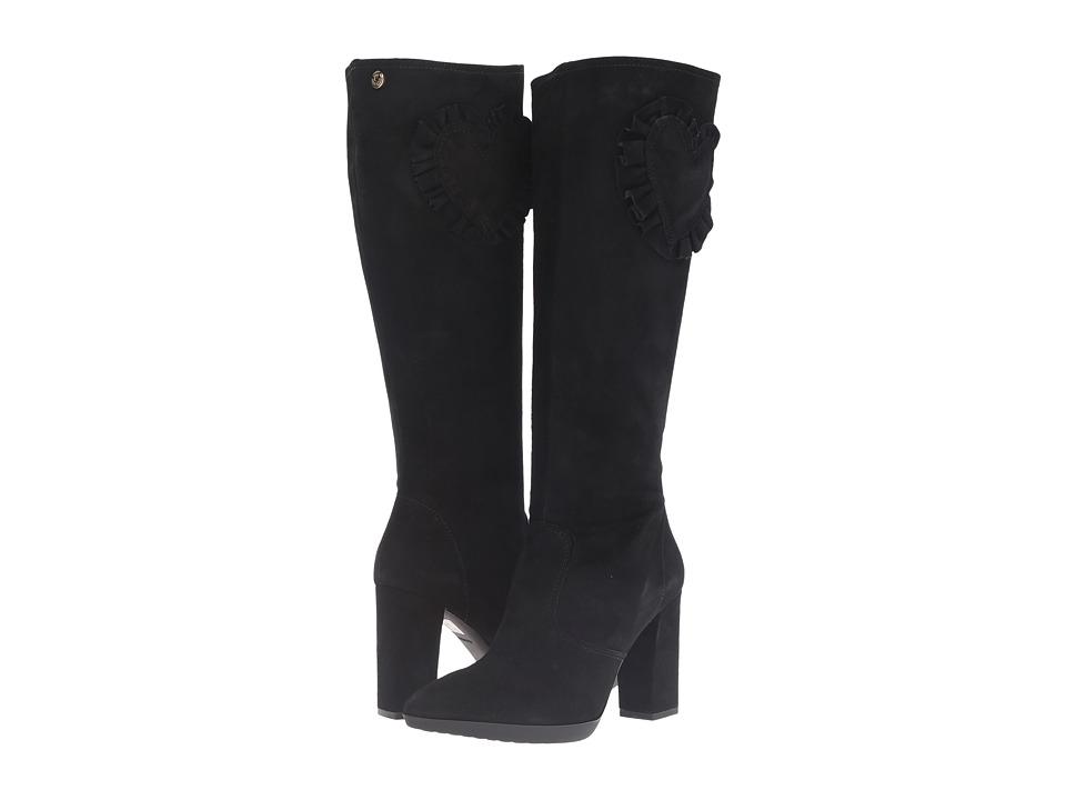 LOVE Moschino Suede Rider Boot with Heel (Black) Women