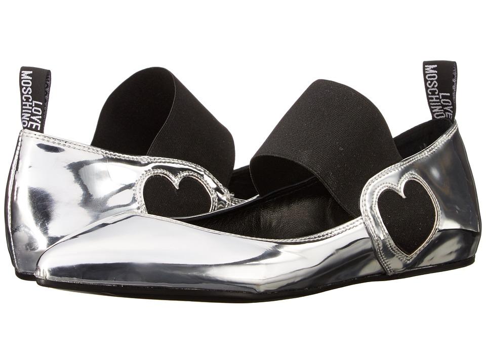 LOVE Moschino Ballerina Shoe w/ Strap (Silver) Women