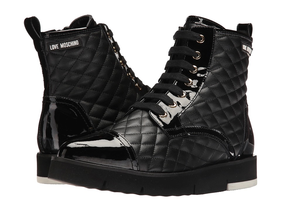 LOVE Moschino Quilted Combat Sneaker (Black) Women