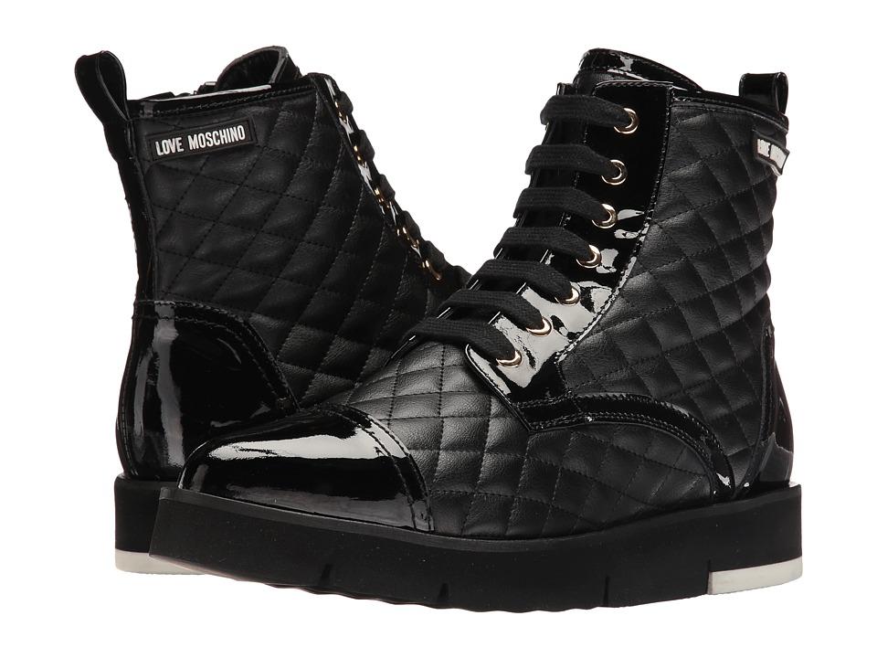 LOVE Moschino Quilted Combat Sneaker (Black) Women