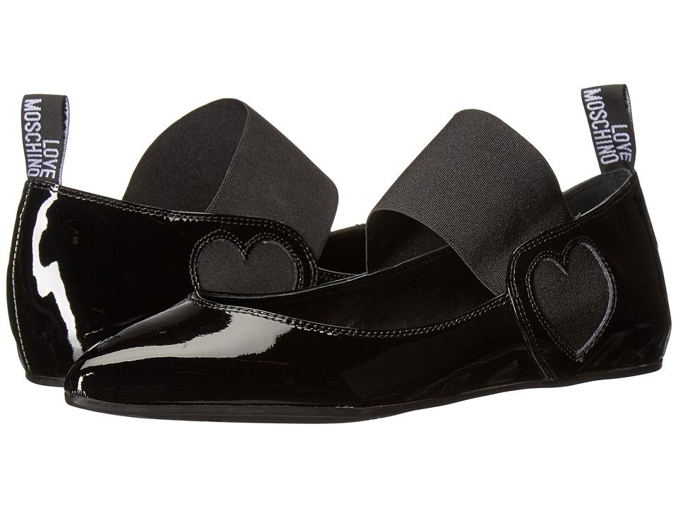 LOVE Moschino Ballerina Shoe w/ Strap (Black) Women