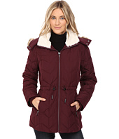 Kenneth Cole New York - Quilted Chevorn Coat with Fur Hood