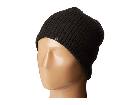 Plush Fleece-Lined Ribbed Beanie - Black