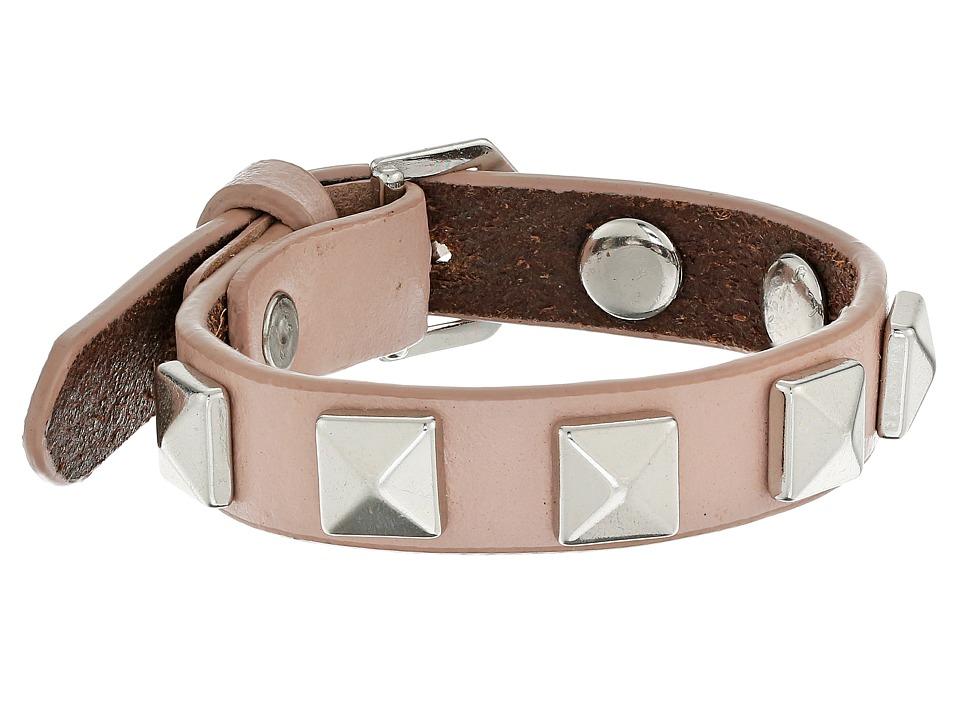 Rebecca Minkoff - Single Row Leather Bracelet with Pyramid Studs (Vintage Pink/Rhodium) Bracelet