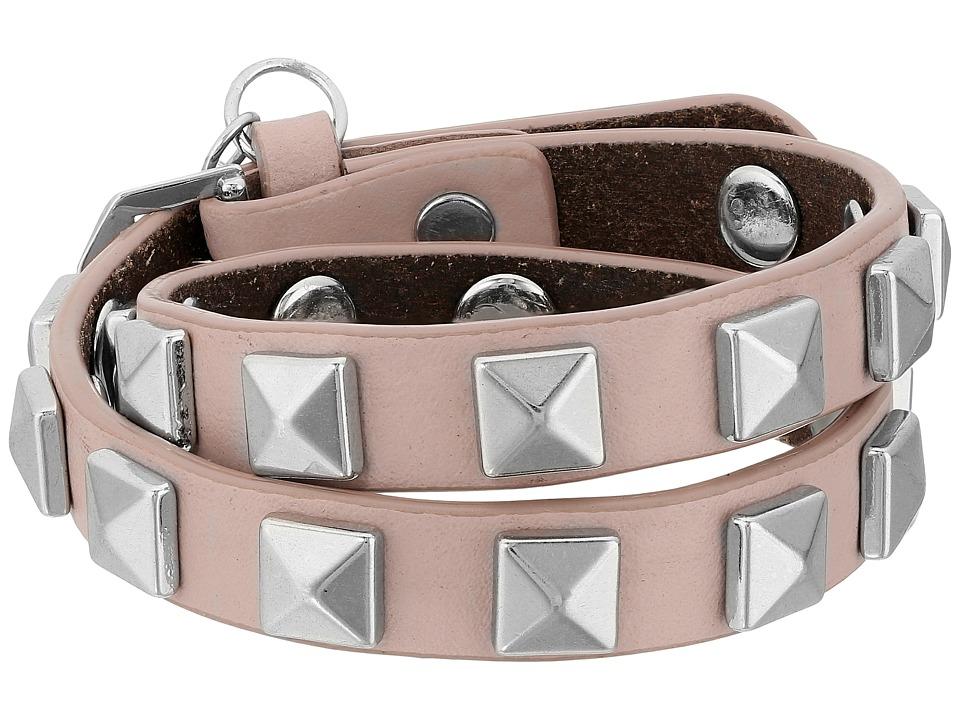 Rebecca Minkoff - Double Row Leather Bracelet with Pyramid Studs (Vintage Pink/Rhodium) Bracelet