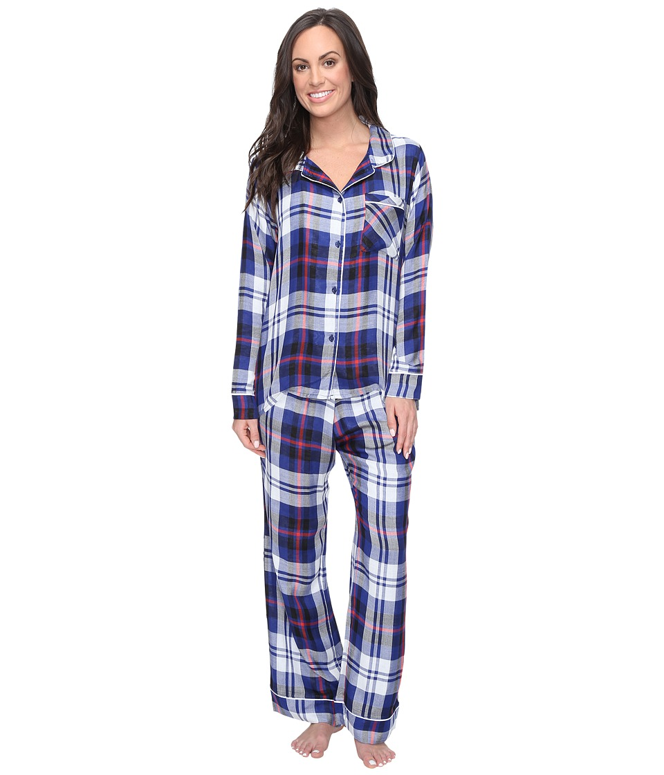 Plush - Ultra Soft Long Sleeve Woven Plaid PJ Set (Navy P...