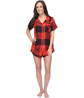 Plush - Ultra Soft Short Sleeve Woven Buffalo Plaid PJ Set