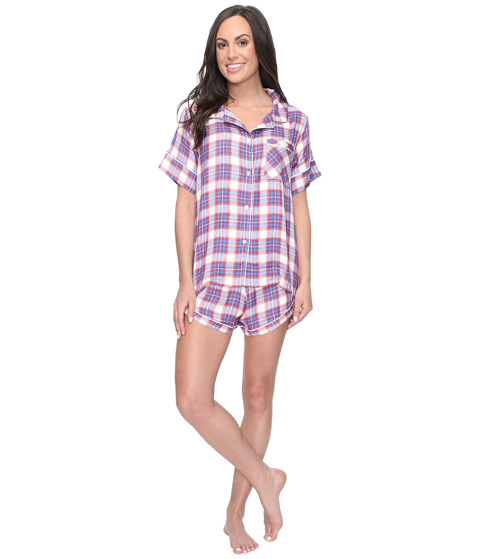 Plush - Ultra Soft Short Sleeve Woven Plaid PJ Set (Red/B...