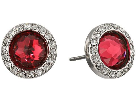 Rebecca Minkoff Crystal Halo Stud Earrings - Rhodium/Ruby