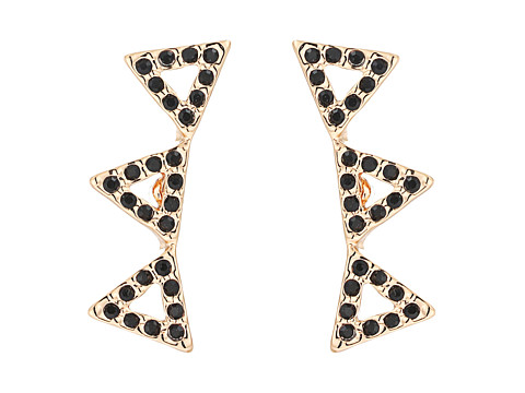 Rebecca Minkoff Pave Triangle Ear Climber Earrings - Rose Gold/Black