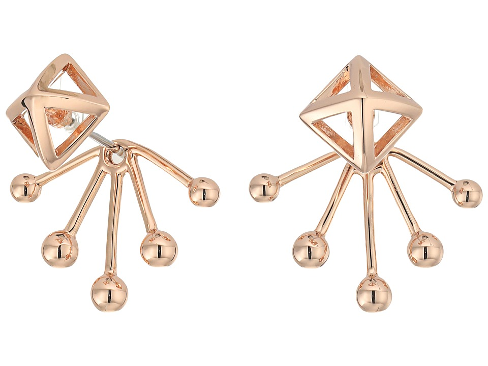 Rebecca Minkoff - Pyramid Fan Back Ear Jacket Earrings (Rose Gold) Earring