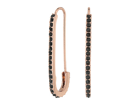 Rebecca Minkoff Pave Safety Pin Earrings - Rose Gold/Jet