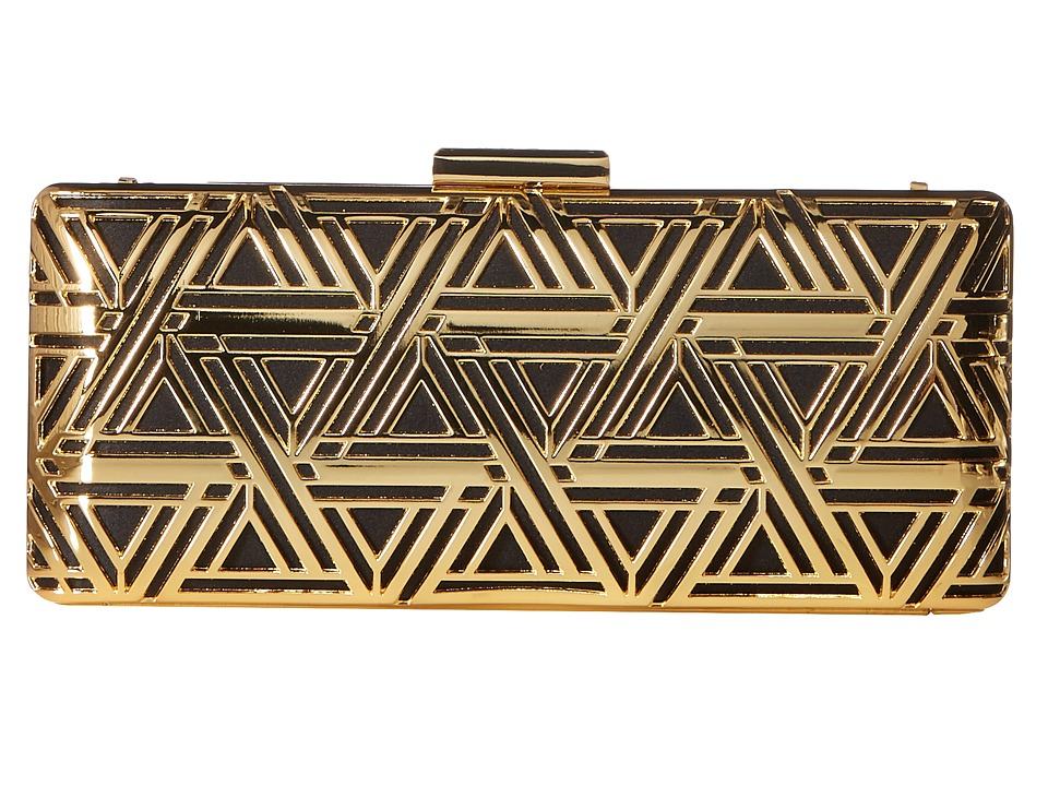 LOVE Moschino - Metal Lace Clutch with Chain (Gold/Black) Clutch Handbags