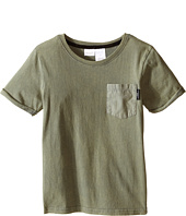 Kardashian Kids - Acid Washed Tee with Geo Print and Woven Pocket (Toddler/Little Kids)