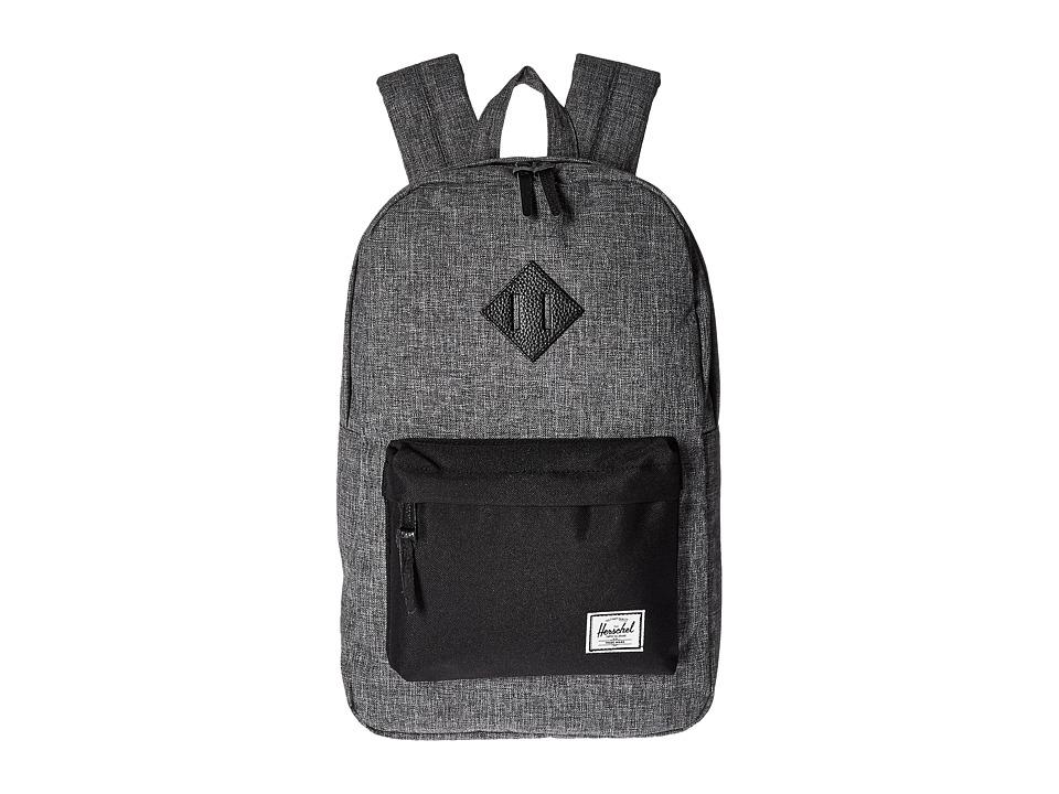 Herschel Supply Co. Heritage Mid-Volume (Raven Crosshatch/Black/Black Leather) Backpack Bags