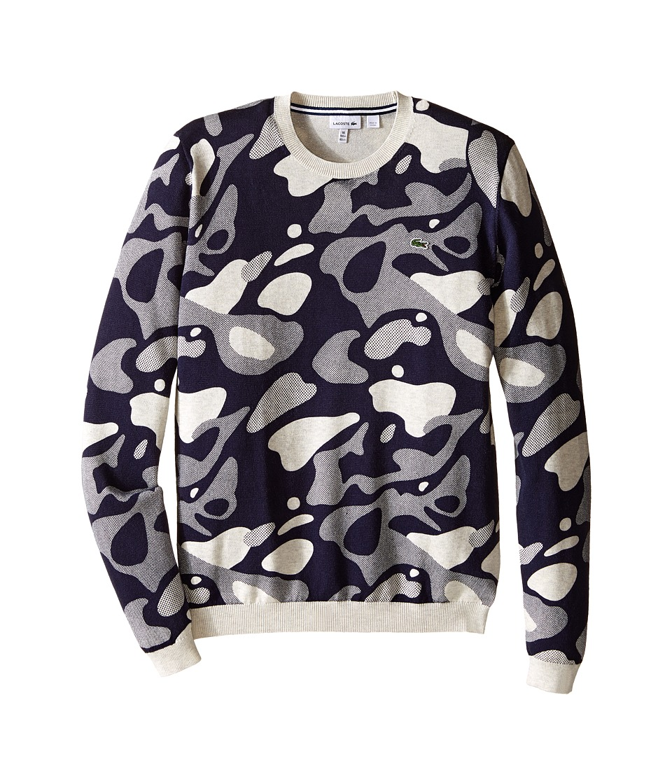 Lacoste Kids - Camo Crew Neck Sweater (Toddler/Little Kids/Big Kids) (Dust Chine/Eclipse Blue) Boy