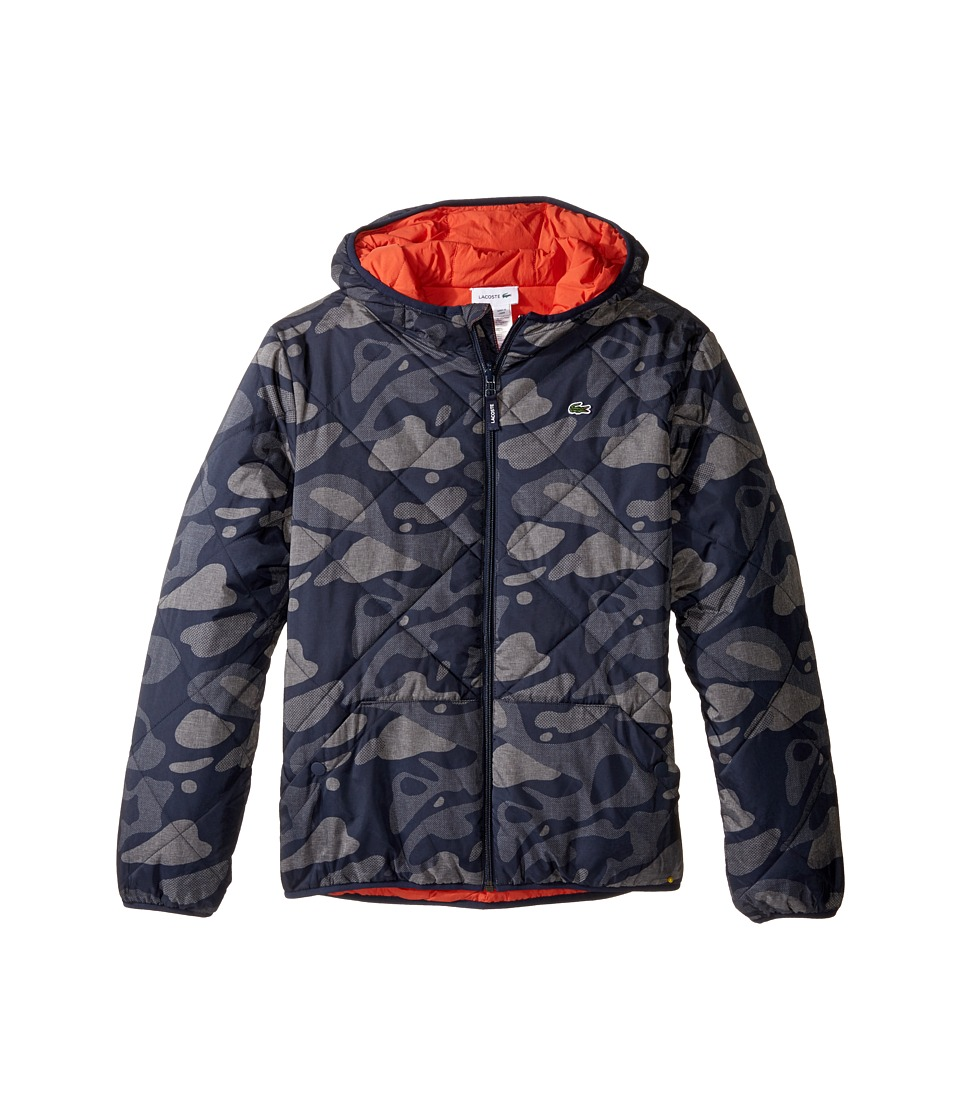 Lacoste Kids - Reversible Puffer Coat with All Over Camo Graphic (Little Kids/Big Kids) (Tar Black/Eclipse Blue Or) Boy
