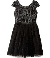 Us Angels - Short Sleeve Bonded Glitter Lace Dress w/ Tulle (Big Kids)