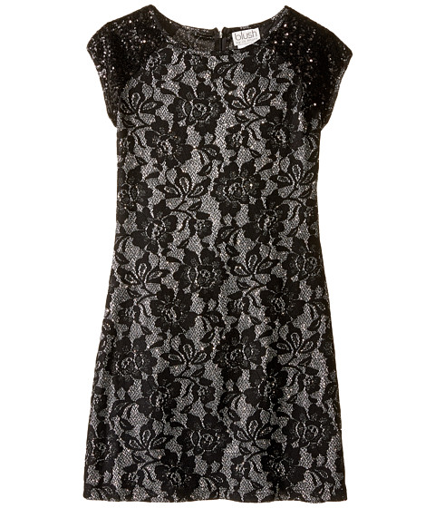 Us Angels Short Sleeve Bonded Glitter Lace Sheath Dress (Big Kids)