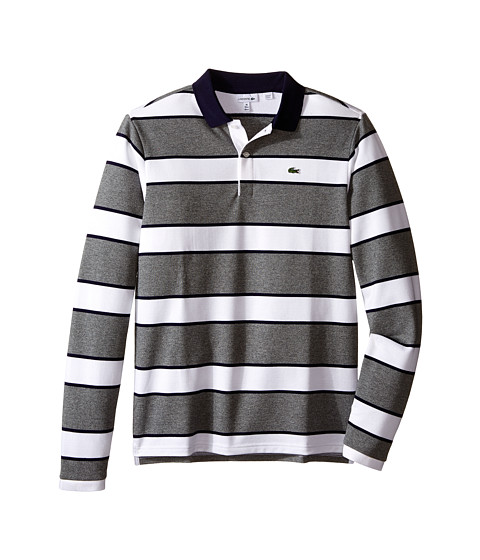 Lacoste Kids Long Sleeve Bold Striped Heavy Pique Polo (Toddler/Little Kids/Big Kids)