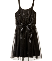 Us Angels - Sequin Tank Sheath Dress w/ Netting Overlay (Big Kids)