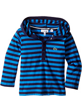 Lacoste Kids - Long Sleeve Stripe Jersey Hoodie Tee Shirt (Toddler/Little Kids/Big Kids)