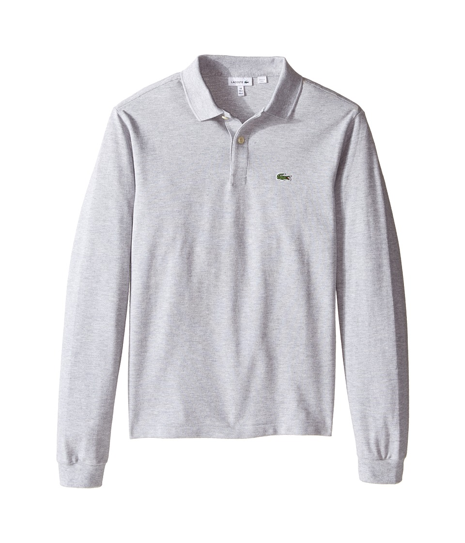 Lacoste Kids Long Sleeve Classic Pique Polo Shirt ToddlerLittle KidsBig Kids Silver Chine Boys Long Sleeve Pullover