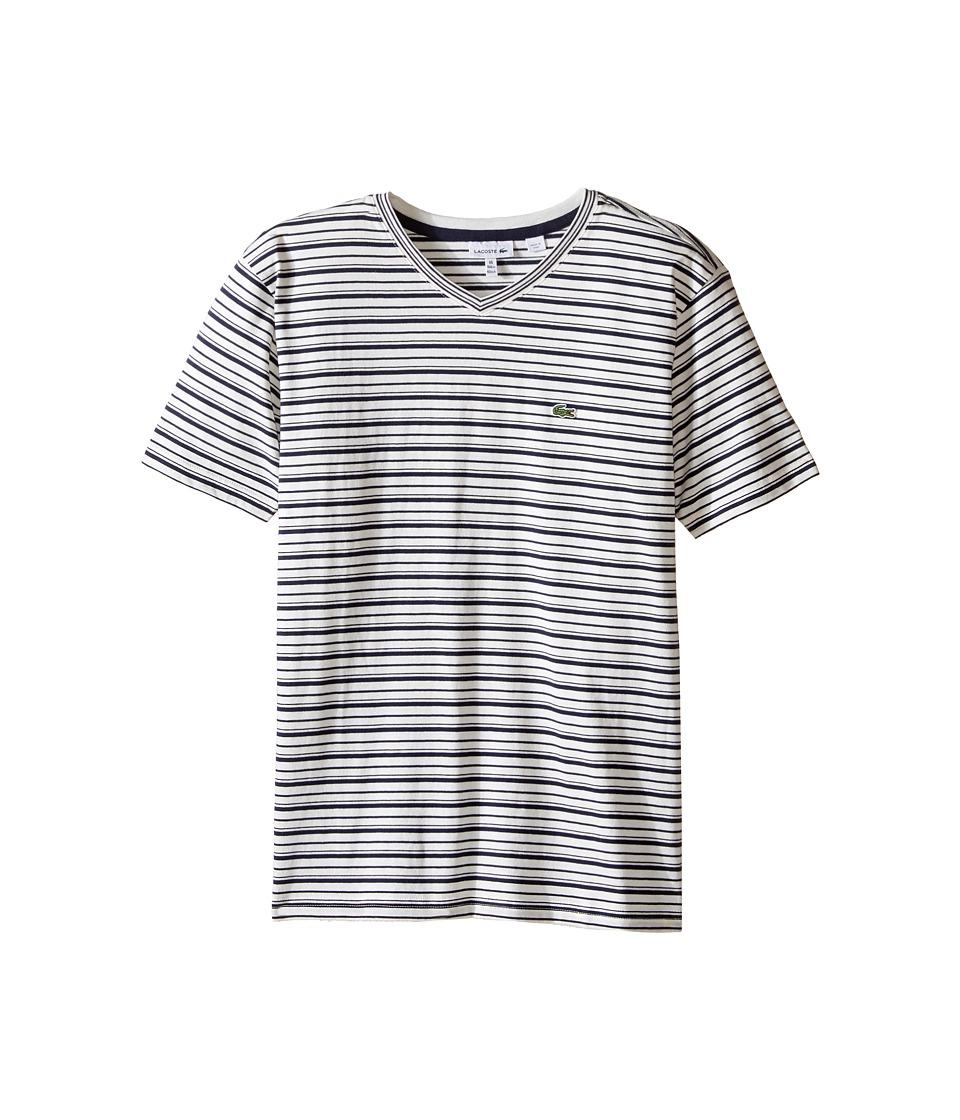 Lacoste Kids - Short Sleeve V-Neck Striped Tee Shirt (Toddler/Little Kids/Big Kids) (Flour/Navy Blue) Boy