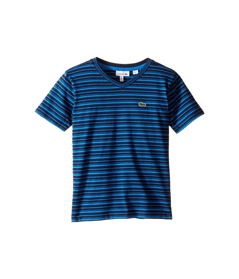 Lacoste Kids - Short Sleeve V-Neck Striped Tee Shirt (Toddler/Little Kids/Big Kids) (Navy Blue/West Indies) Boy
