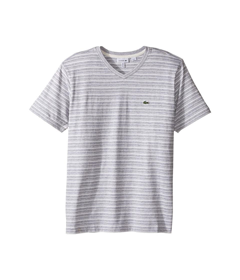 Lacoste Kids - Short Sleeve V-Neck Striped Tee Shirt (Toddler/Little Kids/Big Kids) (Silver Chine/Flour 1) Boy