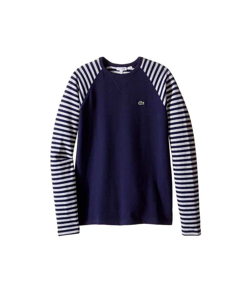 Lacoste Kids - Long Sleeve Striped Raglan Pique Tee Shirt (Toddler/Little Kids/Big Kids) (Aquatic/Dust Chine) Boy