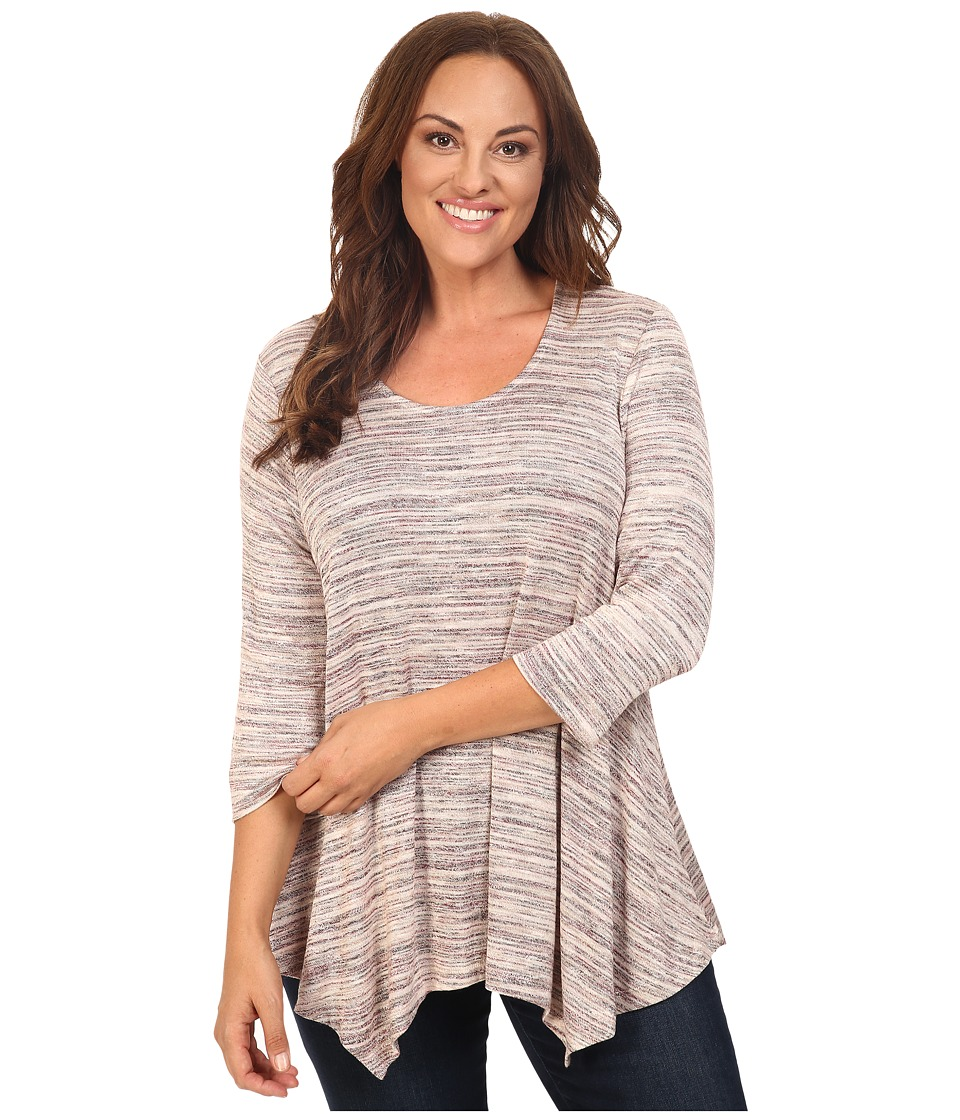 Image of B Collection by Bobeau Curvy - Plus Size Langely Space Dye Knit (Pink Mix) Women's Clothing