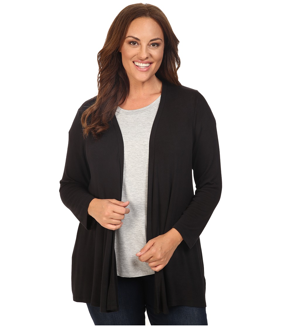 Image of B Collection by Bobeau Curvy - Plus Size Keegan Woven Back Cardigan (Black) Women's Sweater