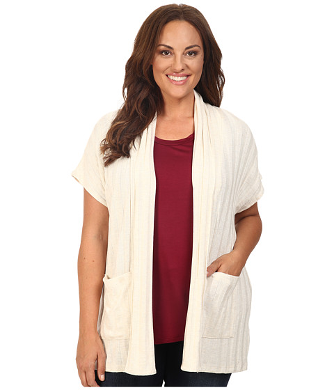 B Collection by Bobeau Curvy Plus Size Larken Ribbed Knit Cardigan - Natural