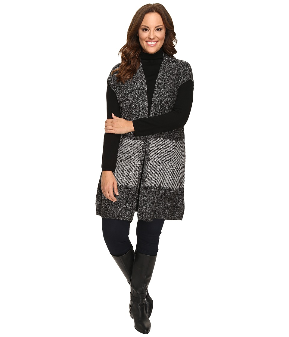 Image of B Collection by Bobeau Curvy - Plus Size Kori Oversized Sweater Vest (Charcoal Grey) Women's Vest