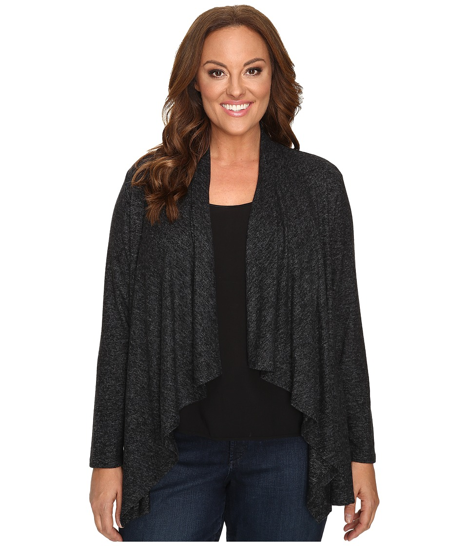 Image of B Collection by Bobeau Curvy - Plus Size Amie Waterfall Cardigan (Charcoal Grey) Women's Sweater