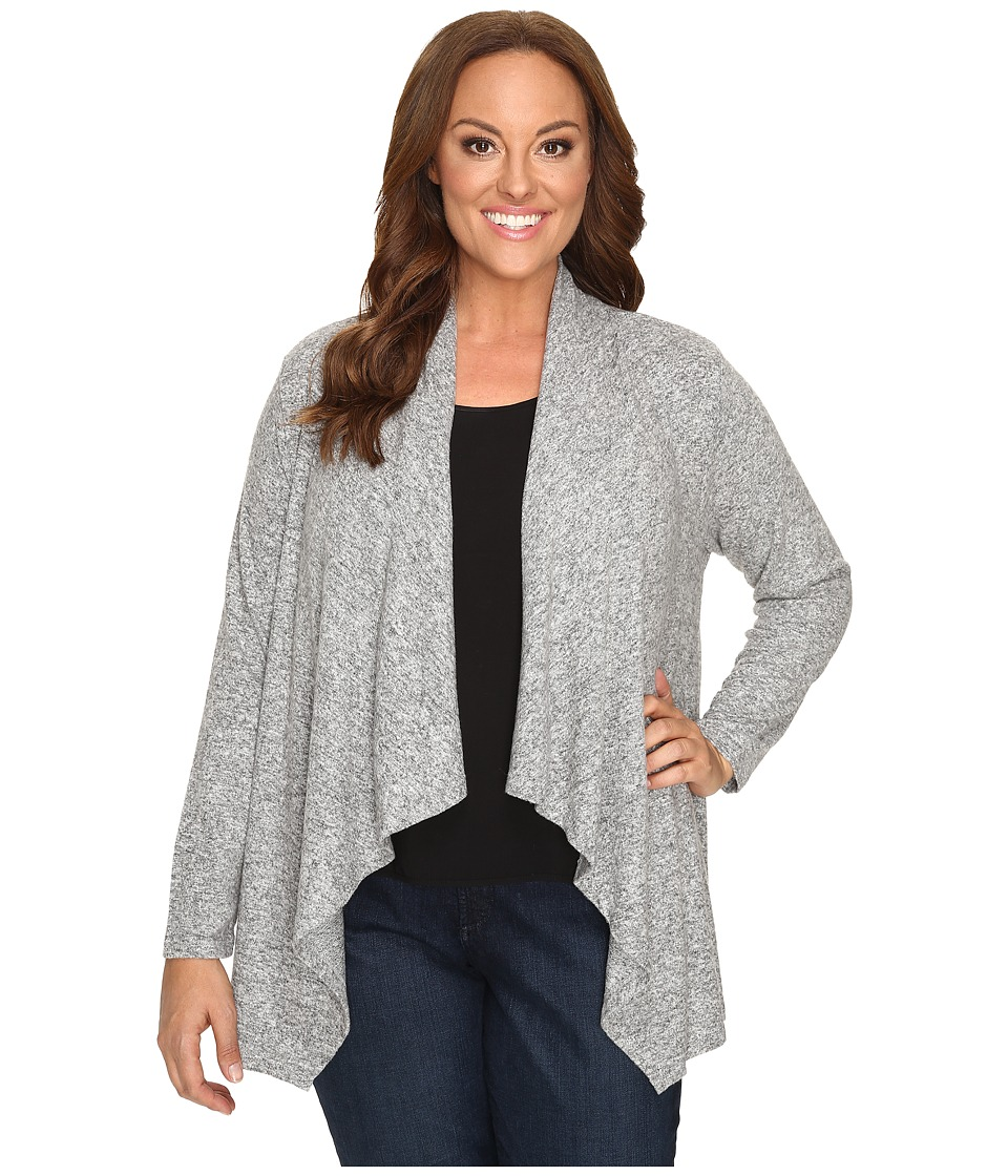 Image of B Collection by Bobeau Curvy - Plus Size Amie Waterfall Cardigan (Heather Grey) Women's Sweater