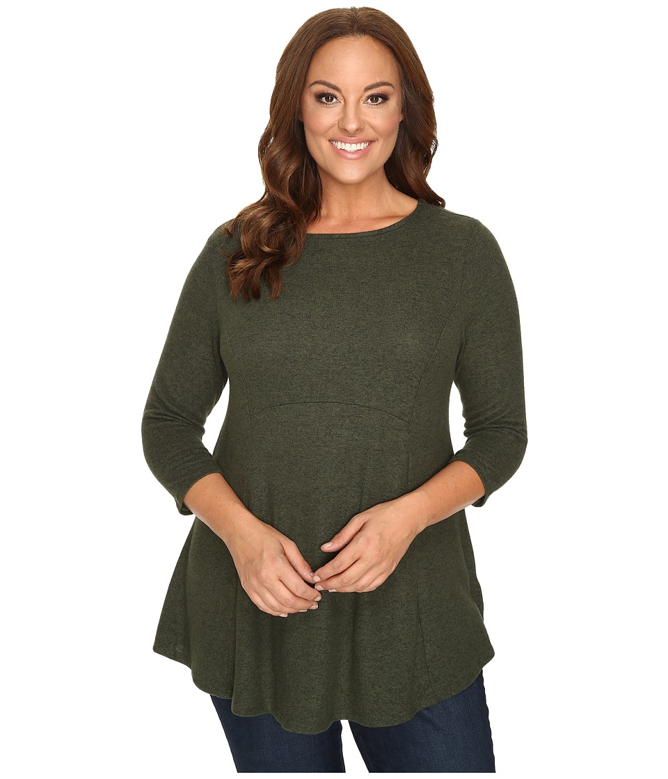 Image of B Collection by Bobeau Curvy - Plus Size Brushed Babydoll Hemline Knit (Dark Green) Women's Sweater