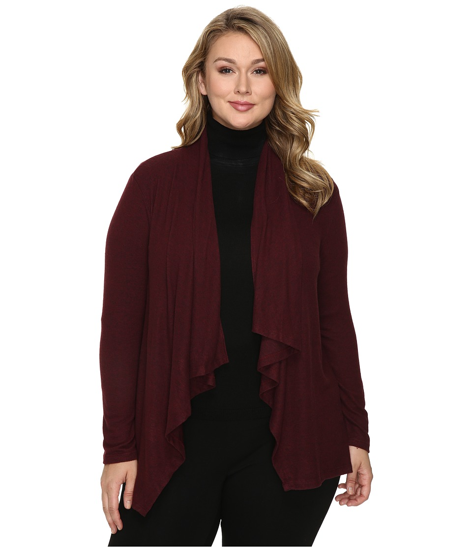 Image of B Collection by Bobeau Curvy - Plus Size Amie Waterfall Cardigan (Burgundy) Women's Sweater