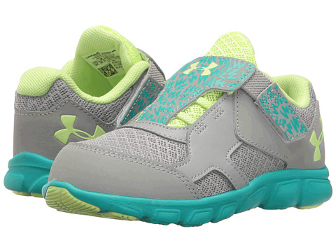 Under Armour Kids UA GINF Thrill RN AC (Infant/Toddler) - Overcast Grey/Neptune/Lime Fizz