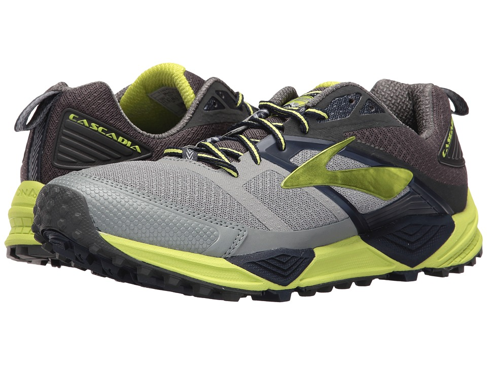 BROOKS Cascadia 12 (Primer Grey/Anthracite/Lime Punch) Me...
