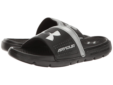 Under Armour Kids UA Playmaker VI Slide (Little Kid/Big Kid) - Black/Black/Metallic Silver