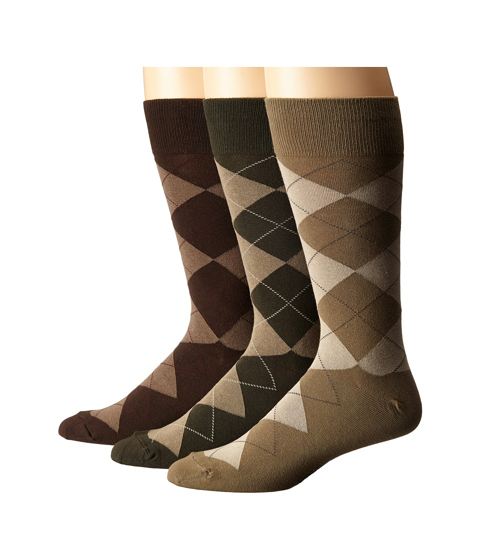 History of Vintage Men's Socks -1900 to 1960s Polo Ralph Lauren - 3-Pack Classic Argyle Cotton Blend with Polo Logo Knit In On Sole Olive Assorted OliveLodenDark Brown Mens Crew Cut Socks Shoes $23.00 AT vintagedancer.com