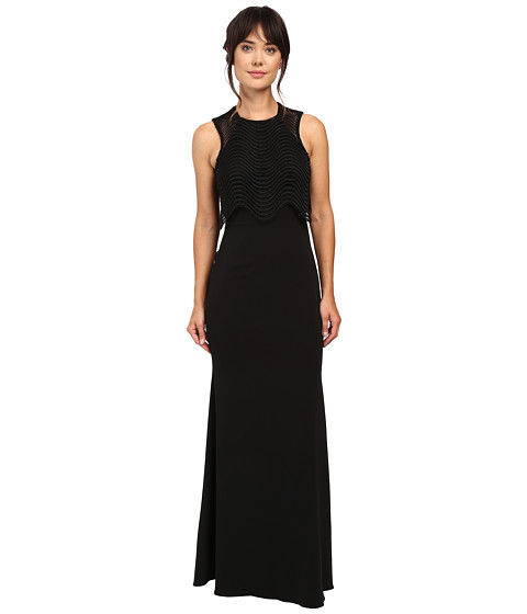 Badgley Mischka - Wave Lace Popover Gown (Black) Women's Dress