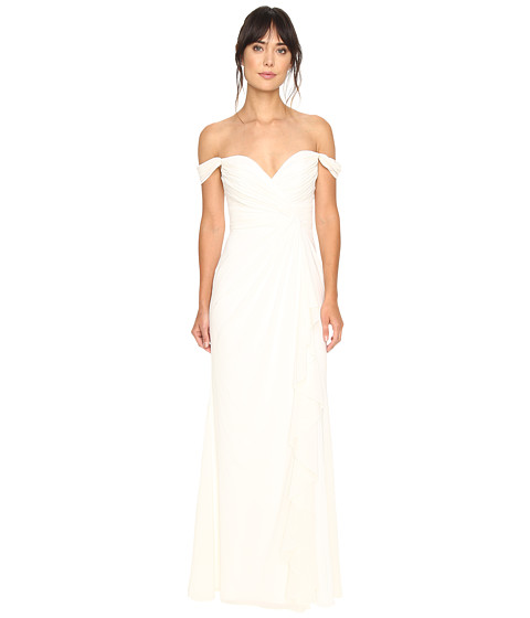 Badgley Mischka Off the Shoulder Ruffle Gown - Light Ivory
