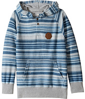 VISSLA Kids - Lei Day Reversed French Terry Pullover Hooded Henley (Big Kids)