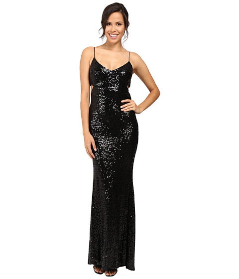 Badgley Mischka Cut Out Sequin Gown