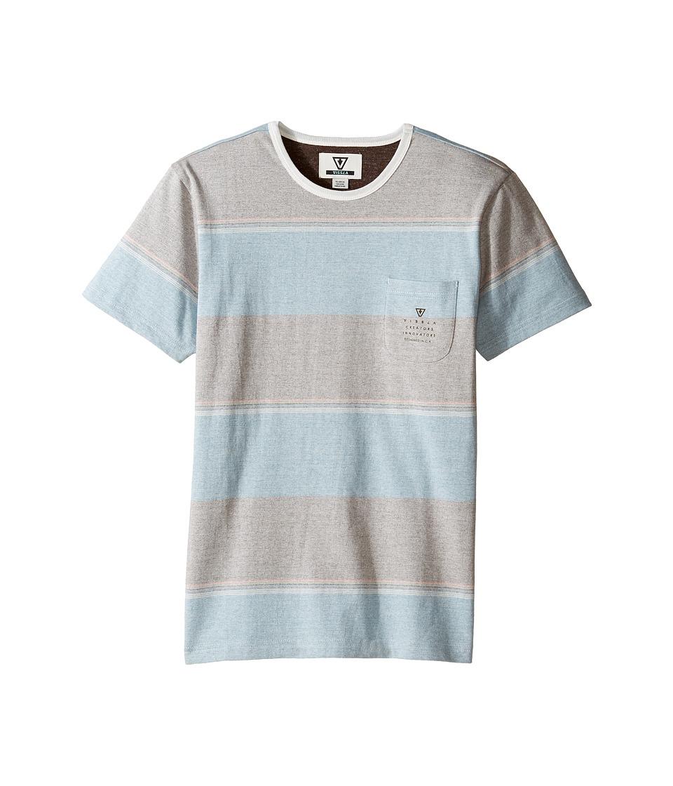 VISSLA Kids - Back Wash Short Sleeve Stripe Pocket Crew Knit