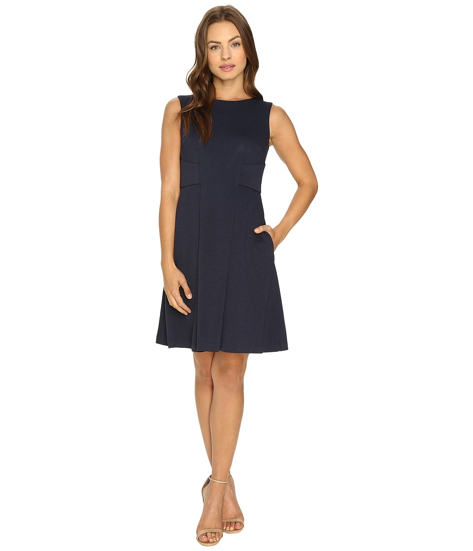 Donna Morgan Fit and Flare with Novelty (Marine Navy) Women